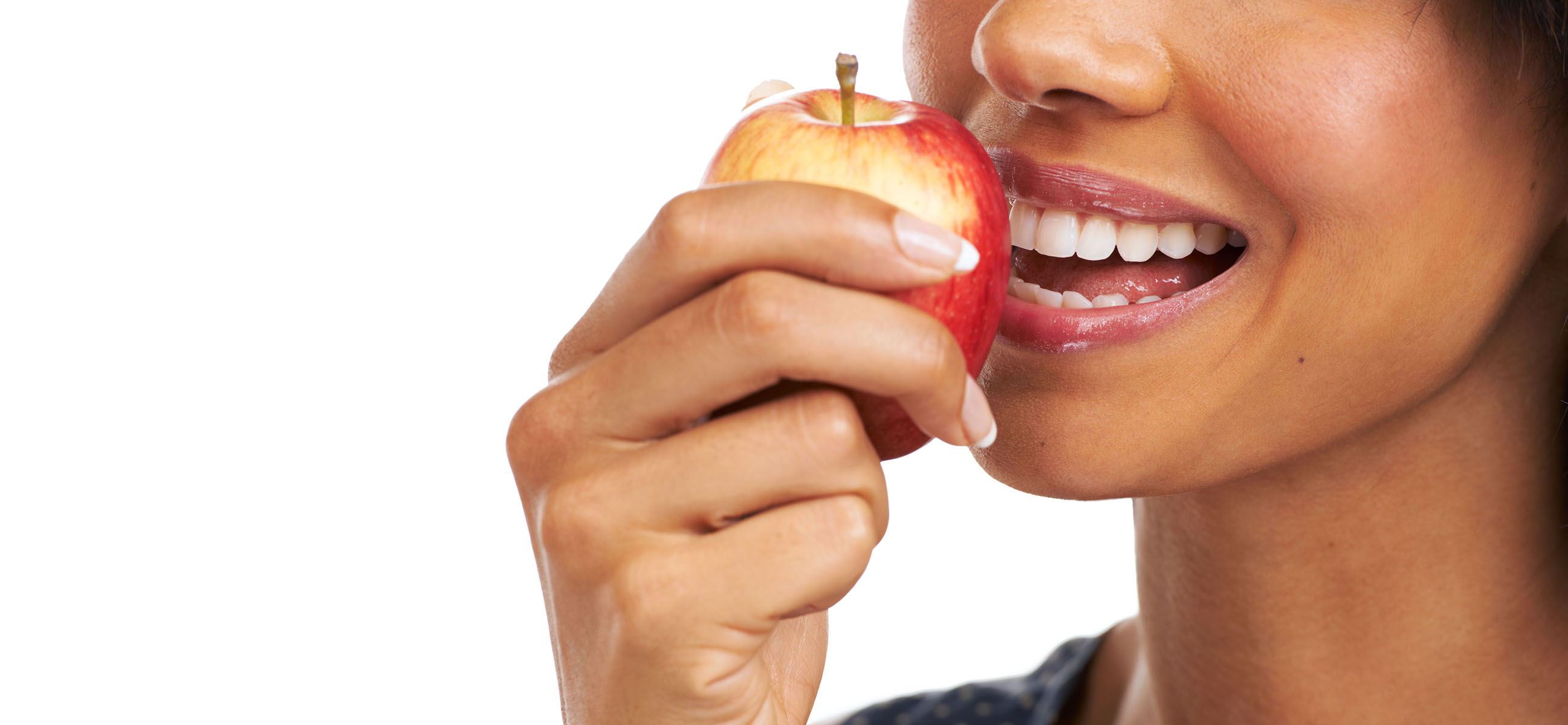 bite into an apple with strong dental implants